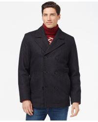 Tommy Hilfiger | Gray Double-breasted Peacoat for Men | Lyst