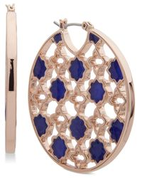Ivanka Trump - Blue Rose Gold-tone Stone Openwork Hoop Earrings - Lyst
