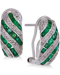 Macy's | Green Gemstone (1 Ct. T.w.) And Diamond Accent Omega Earrings In Sterling Silver | Lyst