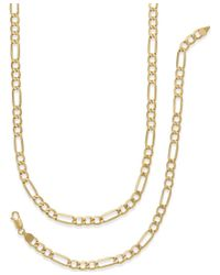 Macy's | Multicolor Men's Chain Necklace And Bracelet Set In 10k Gold for Men | Lyst