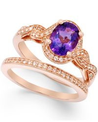 Macy's | Multicolor Amethyst (1 Ct. T.w.) And White Topaz Accent Ring Set In Rose Gold-tone Vermeil | Lyst