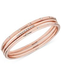 Anne Klein | Pink Rose Gold-tone 3-pc. Set Crystal Stud Bangle Bracelets, A Macy's Exclusive Style | Lyst