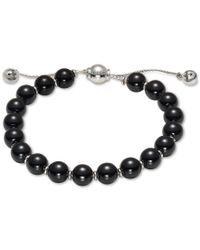 Gucci | Metallic Women's Sterling Silver Boule Chain And Black Wood Beaded Bracelet Yba310541003 | Lyst