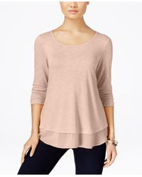 Style & Co. | Pink Chiffon-hem Top, Only At Macy's | Lyst