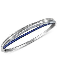 Effy Collection   Blue Sapphire (1-1/10 Ct. T.w.) And Diamond (1/3 Ct. T.w.) Bangle Bracelet In 14k White Gold   Lyst