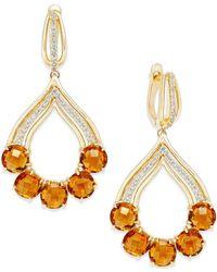 Macy's - Orange Citrine (10 Ct. T.w.) And Diamond (3/8 Ct. T.w.) Chandelier Earrings In 14k Gold - Lyst