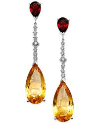 Macy's | Metallic Citrine (14 Ct. T.w.) Garnet (3 Ct. T.w.) And Diamond (1/4 Ct. T.w.) Drop Earrings In 14k White Gold | Lyst
