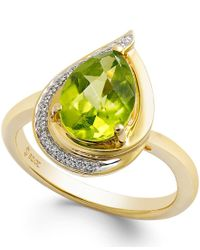 Macy's - Purple Peridot (9/10 Ct. T.w.) And Diamond Accents Pear-shape Ring In 14k Gold - Lyst