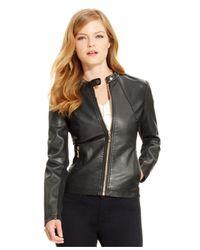 Ivanka Trump | Faux-leather Moto Jacket, Black | Lyst