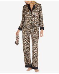 Kate Spade | Brown Cheetah-print Pajama Set With Embroidered Eye Mask | Lyst