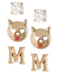 Betsey Johnson - Metallic Gold-tone Initial Stud Earrings Set - Lyst