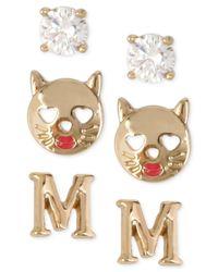 Betsey Johnson | Metallic Gold-tone Initial Stud Earrings Set | Lyst
