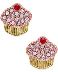 kate spade new york - Metallic Gold-tone Pave Cupcake Stud Earrings - Lyst