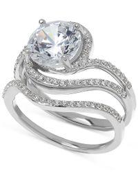 Arabella   Metallic Swarovski Zirconia Bridal Set Ring In Sterling Silver   Lyst