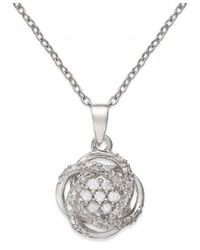 Macy's | Metallic Diamond Love Knot Pendant Necklace (1/10 Ct. T.w.) In 18k Gold-plated Sterling Silver Or Sterling Silver | Lyst