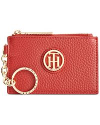 Tommy Hilfiger | Red Lucky Charm Pebble Leather Id Coin Purse | Lyst