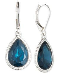 Nine West | Metallic Silver-tone Blue Teardrop Earrings | Lyst
