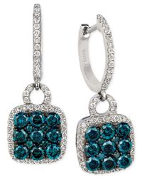 Le Vian | Multicolor Exotics Blue And White Diamond Drop Earrings (1-1/4 Ct. T.w.) In 14k White Gold | Lyst