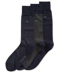 Calvin Klein - Blue Microfiber Dress Socks 3-pack for Men - Lyst