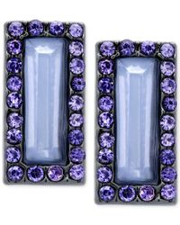T Tahari - Blue Rectangle Stone And Crystal Stud Earrings - Lyst