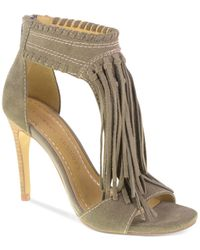 Chinese Laundry | Gray Santa Fe Fringe Sandals | Lyst