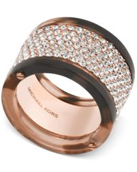 Michael Kors | Pink Rose Gold-tone Tortoise-look Pave Ring | Lyst