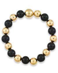 Signature Gold | Black Onyx (10mm) Beaded Bracelet In 14k Gold Over Resin | Lyst
