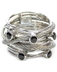Charriol | Metallic Women's Silver-tone Black Spinel Cable Ring | Lyst