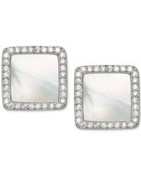 Giani Bernini - Metallic Cubic Zirconia And Mother-of-pearl Stud Earrings In Sterling Silver - Lyst