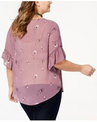 Style & Co. - Pink Blooming Printed Pintuck Blouse - Lyst