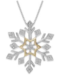 Macy's - Metallic Diamond Snowflake Pendant Necklace (1/10 Ct. T.w.) In Sterling Silver And 14k Yellow Gold - Lyst