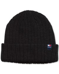 Tommy Hilfiger | Black Solid Cuffed Beanie for Men | Lyst