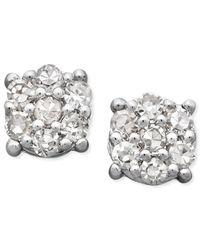 Macy's | Metallic Diamond Cluster Stud Earrings In 14k White Gold (1/10 Ct. T.w.) | Lyst