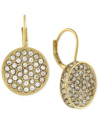 Vince Camuto | Metallic Gold-tone Crystal Disc Drop Earrings | Lyst