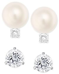 Swarovski - Metallic Silver-tone Imitation Pearl And Crystal Stud Earring Set - Lyst
