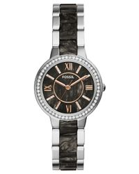 Fossil - Metallic Women's Virginia Dark Pearlized Acetate And Stainless Steel Bracelet Watch 30mm Es3918 - Lyst