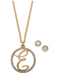 Charter Club - Metallic Gold-tone Crystal Initial Pendant Necklace And Stud Earring Boxed Set, Only At Macy's - Lyst