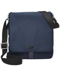 Fossil | Blue Trevor Nylon Small Messenger Bag for Men | Lyst