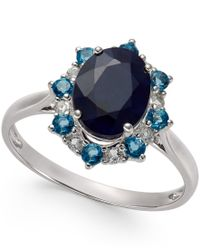 Macy's - Blue Multi-stone Starburst Ring In 10k White Gold (2-1/4 Ct. T.w.) - Lyst