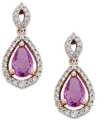 Macy's - Metallic Purple Sapphire (1 Ct. T.w.) And Diamond (1/4 Ct. T.w.) Drop Earrings In 14k Rose Gold - Lyst