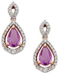 Macy's | Purple Sapphire (1 Ct. T.w.) And Diamond (1/4 Ct. T.w.) Drop Earrings In 14k Rose Gold | Lyst