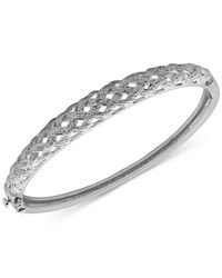 Macy's - White Diamond Accented Woven Hinged Bangle Bracelet In Silver-plated Bronze - Lyst