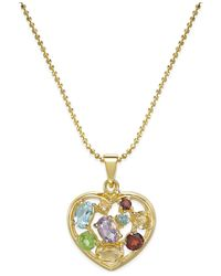 Macy's | Metallic Multi-gem Mosaic Heart Pendant Necklace (2-1/3 Ct. T.w.) In 18k Gold-plated Sterling Silver | Lyst
