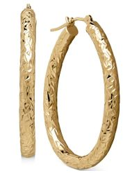 Macy's | Metallic Diamond-cut Hoop Earrings In 14k Gold | Lyst