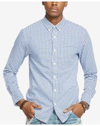 Denim & Supply Ralph Lauren - Blue Men's Checked Cotton Oxford Shirt for Men - Lyst
