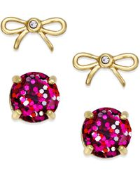 Kate Spade | Pink Gold-tone Glitter And Bow Stud Earring Set | Lyst