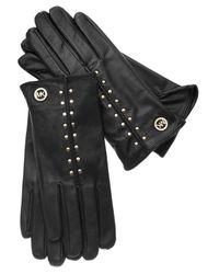 Michael Kors | Black Studded Leather Gloves | Lyst