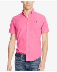 Polo Ralph Lauren - Pink Men's Short-sleeve Silk Shirt for Men - Lyst
