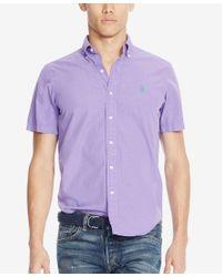 Polo Ralph Lauren - Purple Men's Short-sleeve Silk Shirt for Men - Lyst