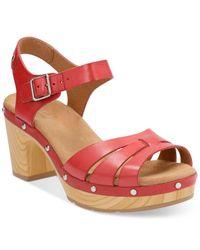 Clarks   Red Artisan Women's Ledella Trail Platform Sandals   Lyst
